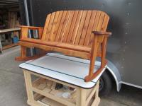 "Click to enlarge image <B>GARDEN BENCH ROCKER 44"" SEAT WIDTH</B> - <B>BEAUTIFULLY MADE RUSTIC STYLE AND DURABILITY</B>"
